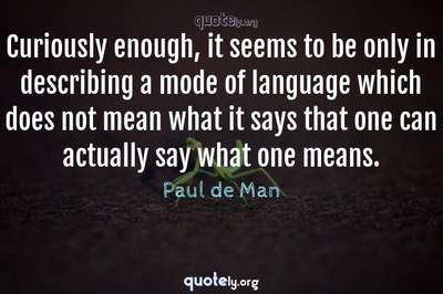 Photo Quote of Curiously enough, it seems to be only in describing a mode of language which does not mean what it says that one can actually say what one means.