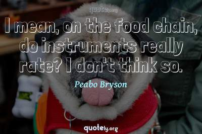 Photo Quote of I mean, on the food chain, do instruments really rate? I don't think so.