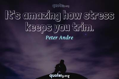 Photo Quote of It's amazing how stress keeps you trim.