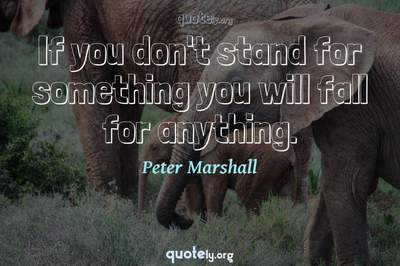 Photo Quote of If you don't stand for something you will fall for anything.