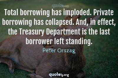 Photo Quote of Total borrowing has imploded. Private borrowing has collapsed. And, in effect, the Treasury Department is the last borrower left standing.