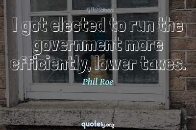Photo Quote of I got elected to run the government more efficiently, lower taxes.