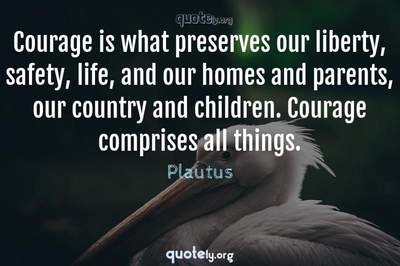Photo Quote of Courage is what preserves our liberty, safety, life, and our homes and parents, our country and children. Courage comprises all things.