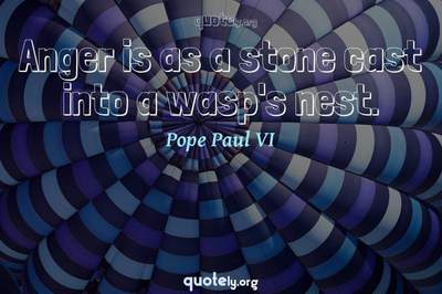 Photo Quote of Anger is as a stone cast into a wasp's nest.