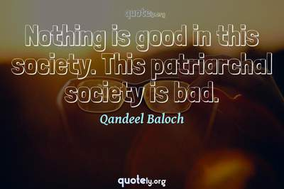 Photo Quote of Nothing is good in this society. This patriarchal society is bad.