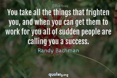 Photo Quote of You take all the things that frighten you, and when you can get them to work for you all of sudden people are calling you a success.
