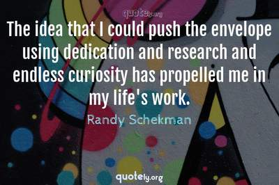 Photo Quote of The idea that I could push the envelope using dedication and research and endless curiosity has propelled me in my life's work.