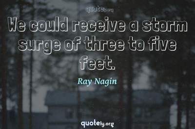 Photo Quote of We could receive a storm surge of three to five feet.