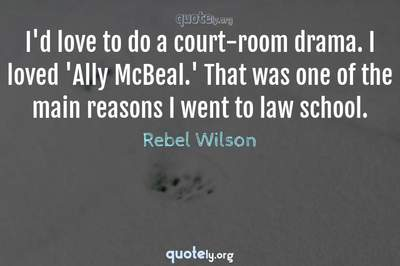 Photo Quote of I'd love to do a court-room drama. I loved 'Ally McBeal.' That was one of the main reasons I went to law school.