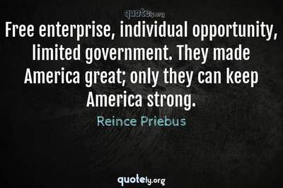 Photo Quote of Free enterprise, individual opportunity, limited government. They made America great; only they can keep America strong.