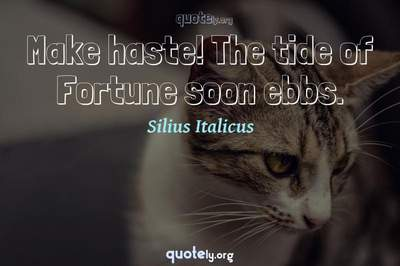 Photo Quote of Make haste! The tide of Fortune soon ebbs.