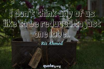 Photo Quote of I don't think any of us like to be reduced to just one label.
