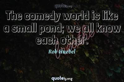 Photo Quote of The comedy world is like a small pond; we all know each other.