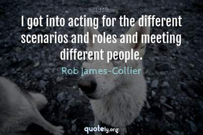 Photo Quote of I got into acting for the different scenarios and roles and meeting different people.