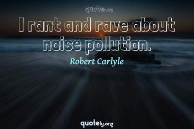 Photo Quote of I rant and rave about noise pollution.