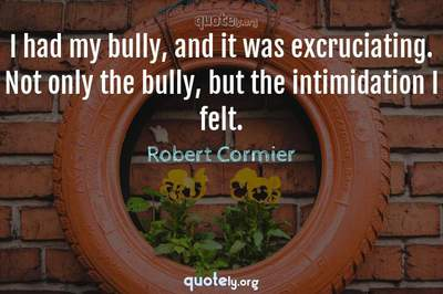 Photo Quote of I had my bully, and it was excruciating. Not only the bully, but the intimidation I felt.