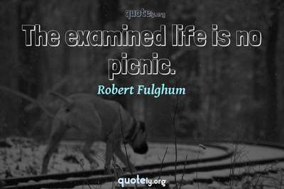Photo Quote of The examined life is no picnic.