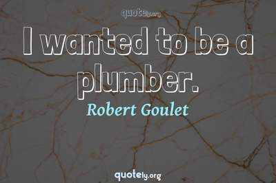 Photo Quote of I wanted to be a plumber.