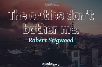Photo Quote of The critics don't bother me.