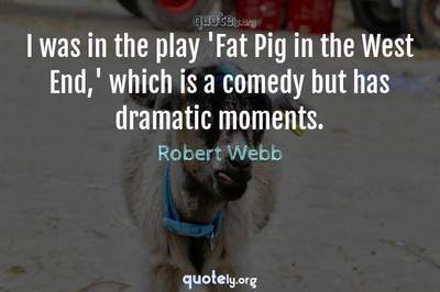 Photo Quote of I was in the play 'Fat Pig in the West End,' which is a comedy but has dramatic moments.
