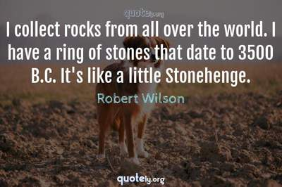 Photo Quote of I collect rocks from all over the world. I have a ring of stones that date to 3500 B.C. It's like a little Stonehenge.
