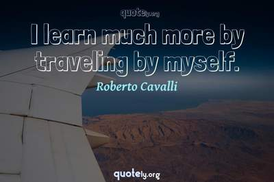 Photo Quote of I learn much more by traveling by myself.