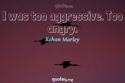 Photo Quote of I was too aggressive. Too angry.