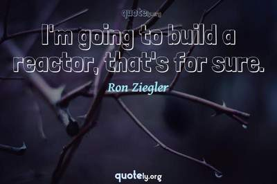 Photo Quote of I'm going to build a reactor, that's for sure.