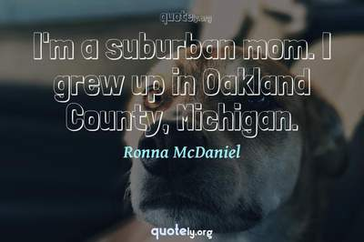 Photo Quote of I'm a suburban mom. I grew up in Oakland County, Michigan.