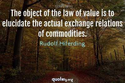 Photo Quote of The object of the law of value is to elucidate the actual exchange relations of commodities.