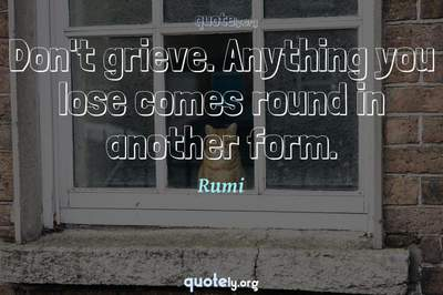 Photo Quote of Don't grieve. Anything you lose comes round in another form.