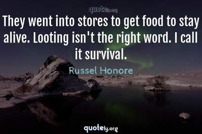 Photo Quote of They went into stores to get food to stay alive. Looting isn't the right word. I call it survival.