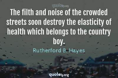 Photo Quote of The filth and noise of the crowded streets soon destroy the elasticity of health which belongs to the country boy.