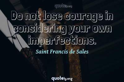 Photo Quote of Do not lose courage in considering your own imperfections.
