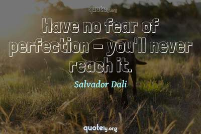 Photo Quote of Have no fear of perfection - you'll never reach it.