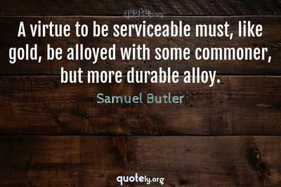 Photo Quote of A virtue to be serviceable must, like gold, be alloyed with some commoner, but more durable alloy.