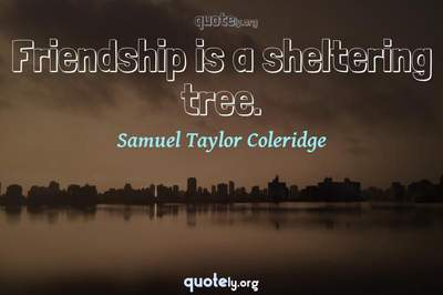 Photo Quote of Friendship is a sheltering tree.