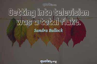 Photo Quote of Getting into television was a total fluke.