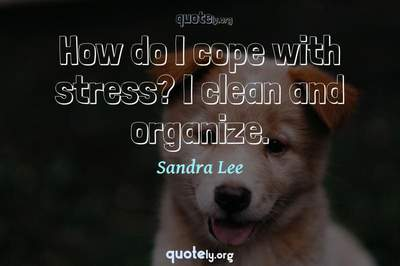 Photo Quote of How do I cope with stress? I clean and organize.