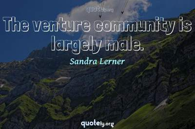 Photo Quote of The venture community is largely male.