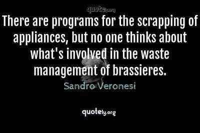 Photo Quote of There are programs for the scrapping of appliances, but no one thinks about what's involved in the waste management of brassieres.