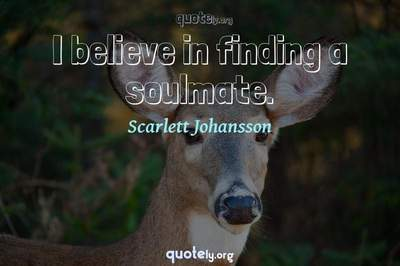 Photo Quote of I believe in finding a soulmate.