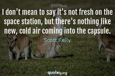 Photo Quote of I don't mean to say it's not fresh on the space station, but there's nothing like new, cold air coming into the capsule.