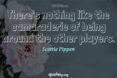 Photo Quote of There's nothing like the camaraderie of being around the other players.