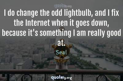 Photo Quote of I do change the odd lightbulb, and I fix the Internet when it goes down, because it's something I am really good at.