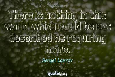 Photo Quote of There is nothing in this world which could be not described as requiring more.