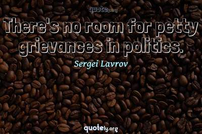 Photo Quote of There's no room for petty grievances in politics.
