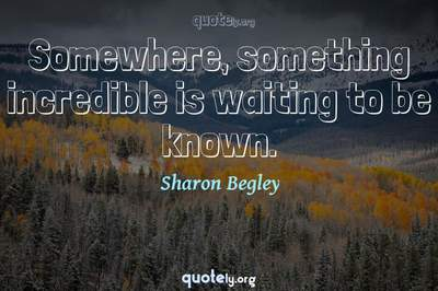 Photo Quote of Somewhere, something incredible is waiting to be known.