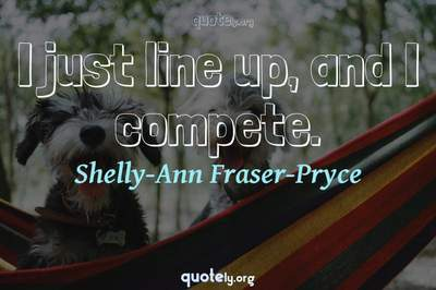 Photo Quote of I just line up, and I compete.
