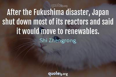 Photo Quote of After the Fukushima disaster, Japan shut down most of its reactors and said it would move to renewables.